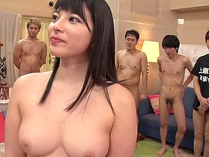 Sweet Asian hottie enjoys getting fucked by horny guys on the floor