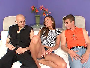 Crissy moon gets in a hot threesome romp with bisexual dudes