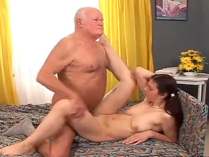 Alexa Strong lets the old man eat the sperm leaking out of her beaver