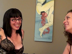 lesbian MILF seduces straight girlfriend