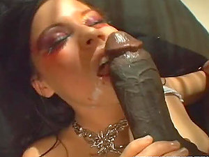 Dark haired Skanky Whore Balled By Black Dude.