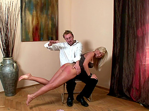 Blonde Helena Sweet gets her round ass spanked by a kinky guy