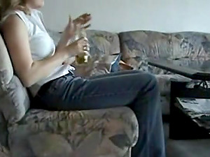 Amateur German Teen Fucks Bottle on Webcam