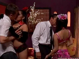 Lovely long-haired dark-haired gets fucked doggystyle