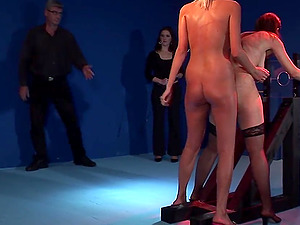 Blonde sweetie likes to punish a friend by hitting her ass with a whip