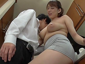 Asian cutie Mishima Natsuko likes to jerk a dick with her boobs