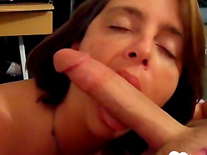 Very hot wife sucking hubby's long dick in point of view