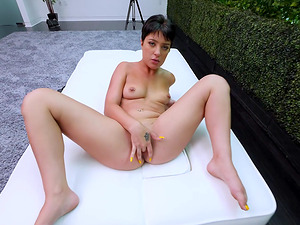 Brunette chick Kiarra makes a fat cock disappear in her pussy