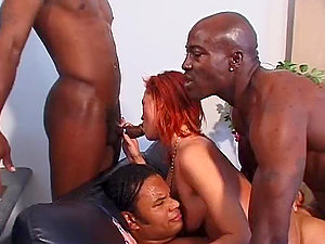 Ravishing Ginger-haired Gets Ravaged By Black Rods