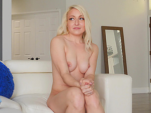 All Valerie wanted was to finger her shaved pussy on the couch