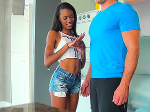 Ebony chick Leisha Lush knows how to ride a fat cock properly