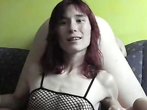 Skinny German babe playing with a stranger's cock