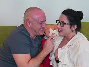 Lusty milf brunette Sofia Siena is sitting on a pulsating dick