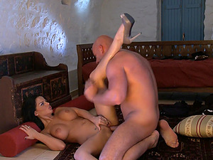Lustful Angelika Black enjoys brutally fucking on the floor