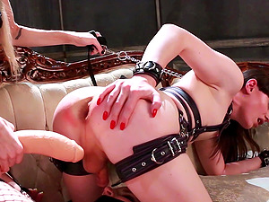 Leathered up mistress Goddess Kya simply loves fucking her slaves