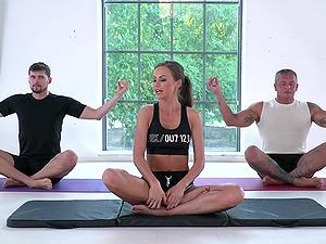 Yoga class turns into a hardcore threesome with Tina Kay
