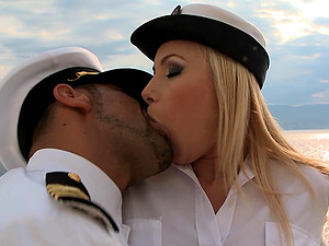 Captain of the ship penetrates Dona Bell's tight pussy on the deck
