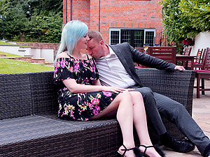 Blue haired Misha Mayfair loves to have public sex with two guys