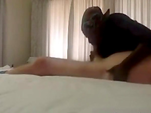 A guy gets caught by African maid while jerking off on the bed