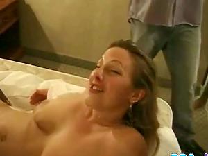 Horny milf whore takes two big black dicks.