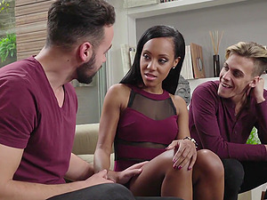 Ebony beauty Noe Milk in a threesome with two big white cocks