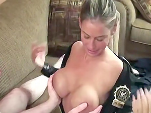 This is one naughty cop! She makes this guy strip down and fuck her tight hole