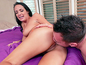 Oiled up Latina brunette Sofi Ryan rides cock until she gets cum