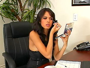 Sexy dark-haired Bashful Love gets fucked on a desk in an office