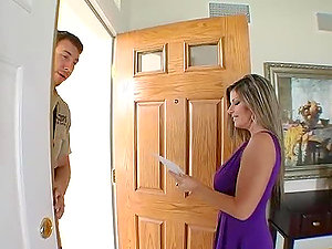 Sexy blonde Kristal Summers fucks a postman in the kitchen