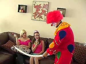 Hot chick has buttfuck fuck-a-thon with a clown during a soiree