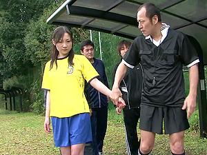 Japanese soccer teen gangbanged on the football field
