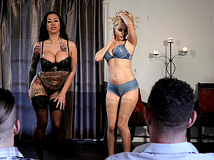 Lily Lane and Aaliyah Love share cum in a foursome