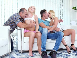 Lovita Fate and Amber Deen sprayed with cum in a foursome