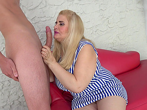 Mature blonde BBW Musa Libertina bent over and pounded doggy style