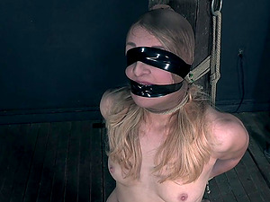 Slutty blonde Kate Kennedy tied up and tortured in a miniskirt