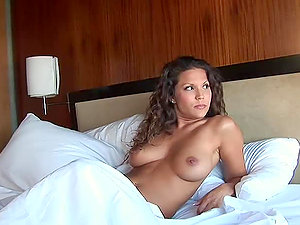 Jia Lynn the curly dark haired shows her jugs in motel room