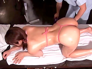 Oily massage and a big dick for Japanese bombshell Mizusawa Riko