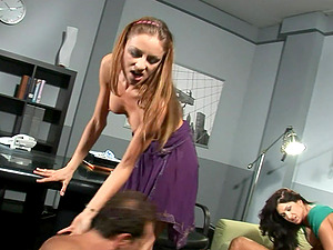 Horny foursome with Lea Lexus and Gilda Roberts riding cocks