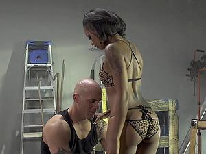 Horny inked Latina babe Skin Diamond rides cock like a nympho