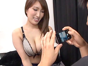 Big tits on a Japanese brunette babe jiggle as she gets pounded