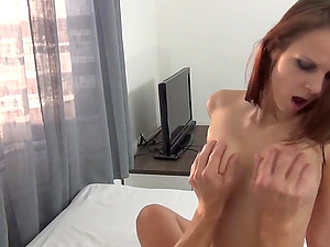 Sexy brunette babe with big tits gets fucked in different positions