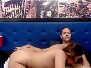 Brunette Babe Gives Her Partner A Hard Blowjob