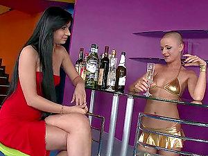 Lusty dark-haired stunner Angel Pink gets a massive manstick