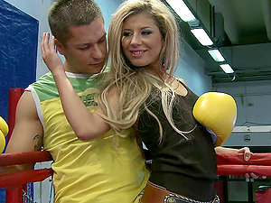 Blonde Skank Has Two Dicks On a Ring