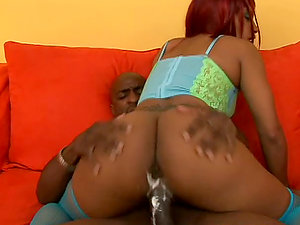 Mercedez inhales her BF's Big black cock and luvs leaping on it
