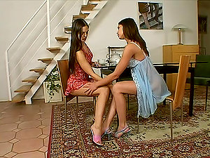 Two nice brown-haired gals help each other to their fuckboxes