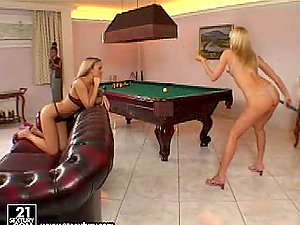 Two playful blonde lezzies fucking after playing billiard