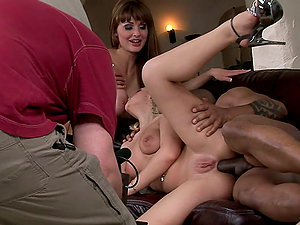 Interracial Threesome With Hot Honeys and Black Dude