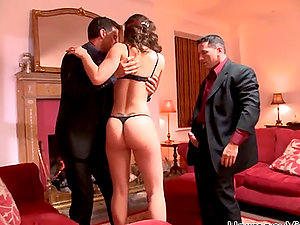 Romp doll Leona Queen is entertaining two dudes