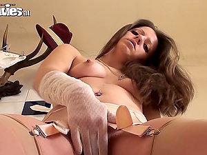 Beautiful Larissa Gold in Sexy Undergarments Masturbates with Her Gloves On